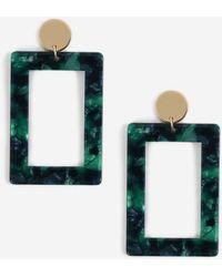 Miss Selfridge - Green Rectangle Earrings - Lyst
