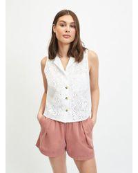 Miss Selfridge Ivory Broderie Sleeveless Shirt - White