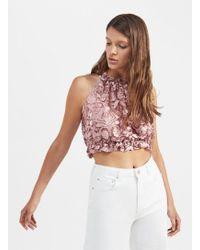 Miss Selfridge - Pale Pink Floral Devore Crop Top - Lyst