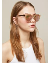 Miss Selfridge - South Beach Rose Gold Round Sunglasses - Lyst