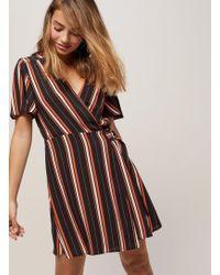 Miss Selfridge - Petite Black Striped D-ring Dress - Lyst
