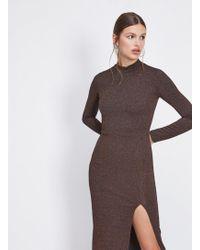 Miss Selfridge - Bronze High Neck Pencil Dress - Lyst