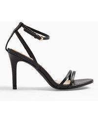 Miss Selfridge Secret Black Snake Skinny Strap Heeled Sandals