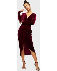 Miss Selfridge Burgundy Long Sleeve Velvet Wrap Dress - Red
