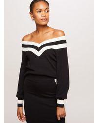 Miss Selfridge - Black Sports Striped Knitted Bardot Top - Lyst