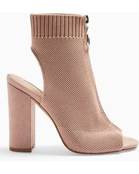 Miss Selfridge Nude Strike Knitted Boots - Natural