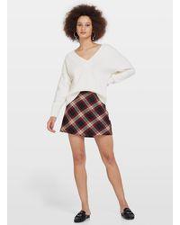 Miss Selfridge Purple Bias Check Mini Skirt