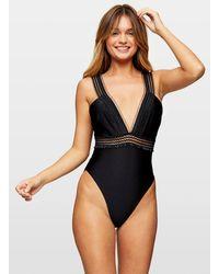 Miss Selfridge Black Mesh Frill Swimsuit