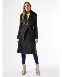 Miss Selfridge Black Faux Fur Collar Belt Coat
