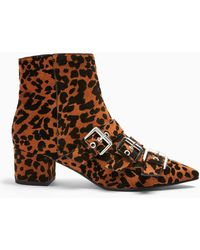 Miss Selfridge Bowy Brown Leopard Print Multi Buckle Boots