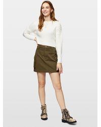 Miss Selfridge Khaki Cargo Pocket Skirt - Natural