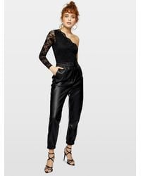 Miss Selfridge Black Long Sleeved One Shoulder Lace Bodysuit