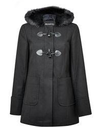 Miss Selfridge Black Faux Fur Trim Duffle Coat