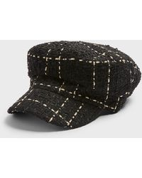 Miss Selfridge Black Boucle Baker Boy Hat