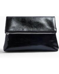Miss Selfridge Act Black Fold Over Clutch Bag