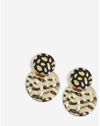 Miss Selfridge Black Leopard Drop Earrings