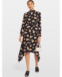 Miss Selfridge Black High Neck Floral Print Midi Dress