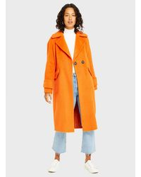 Miss Selfridge Orange Brushed Overcoat