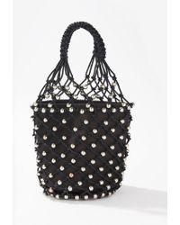 Miss Selfridge Black Beaded Rope Shopper Bag