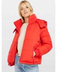 Miss Selfridge Red Sporty Puffer Coat