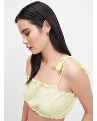 Miss Selfridge Pale Yellow Sleeveless Tassel Camisole Top