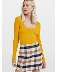 Miss Selfridge Ochre Crop Tie Back Ribbed Knitted Top - Yellow