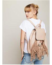 Miss Selfridge - Cream Fringe Backpack - Lyst