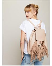 Miss Selfridge - Cream Fringe Backpack - Lyst