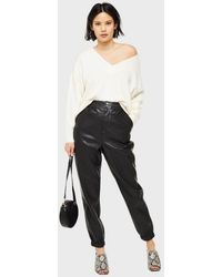 Miss Selfridge Leather Look Jogger Trousers - Black
