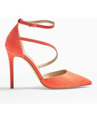 Miss Selfridge Crystal Coral Asymmetric Court Shoes - Pink