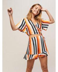 Miss Selfridge - Petite Rainbow Stripe Flippy Shorts - Lyst