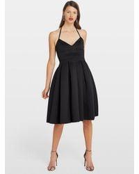 Miss Selfridge Black Scuba Halter Midi Dress