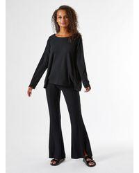 Miss Selfridge Black Ribbed Split Front Flare Trousers