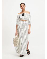 Miss Selfridge Grey Striped Maxi Split Skirt