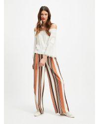 Miss Selfridge Stripe Linen Blend Belted Wide Leg Trousers - White
