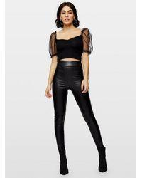 Miss Selfridge Pu Leather Look High Waisted Leggings - Black