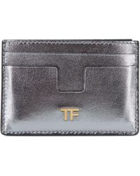 Tom Ford Silver Leather Small Slim Card Case - Metallic