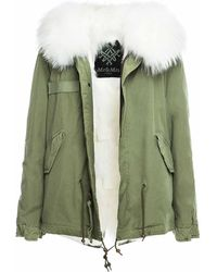 Mr & Mrs Italy Army Mini Parka Patch Fox Raccoon Fur - White