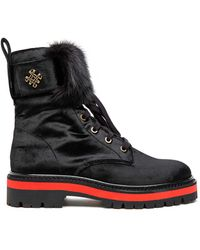 Mr & Mrs Italy Combat Boot With Mink Fur - Black