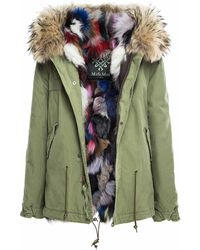 Mr & Mrs Italy Army Cotton Canvas Mini Parka With Patch Fox Fur Lining - Green
