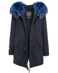 Mr & Mrs Italy Jazzy Midi Parka With Raccoon Collar - Blue