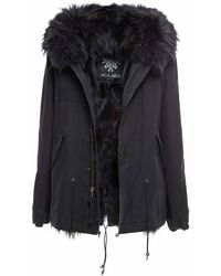 Mr & Mrs Italy Black Cotton Canvas Mini Parka With Fox Fur