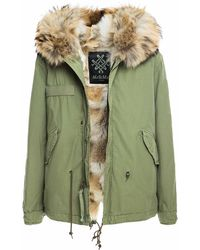 Mr & Mrs Italy Army Mini Parka With Coyote Fur - Natural