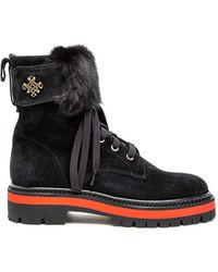 Mr & Mrs Italy Suede Combat Boot With Mink Fur - Black