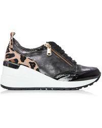 Moda In Pelle Bethina Black - Leopard Patent Leather