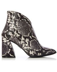 Moda In Pelle Natural Leather Snake Print 'kelli' High Block Heel Ankle Boots - Black