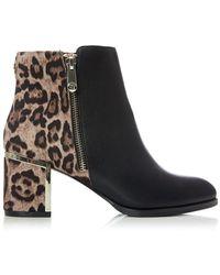 Moda In Pelle Black Leopard Print 'kendella' Mid Block Heel Ankle Boots