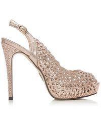 Moda In Pelle 'justine' High Stiletto Heel Peep Toe Sandals - Metallic