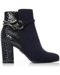 Moda In Pelle Navy 'latassi' High Block Heel Ankle Boots - Blue