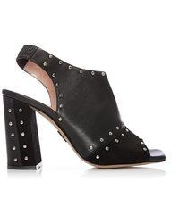 Moda In Pelle Leather 'rebecci' High Block Heel Peep Toe Sandals - Black
